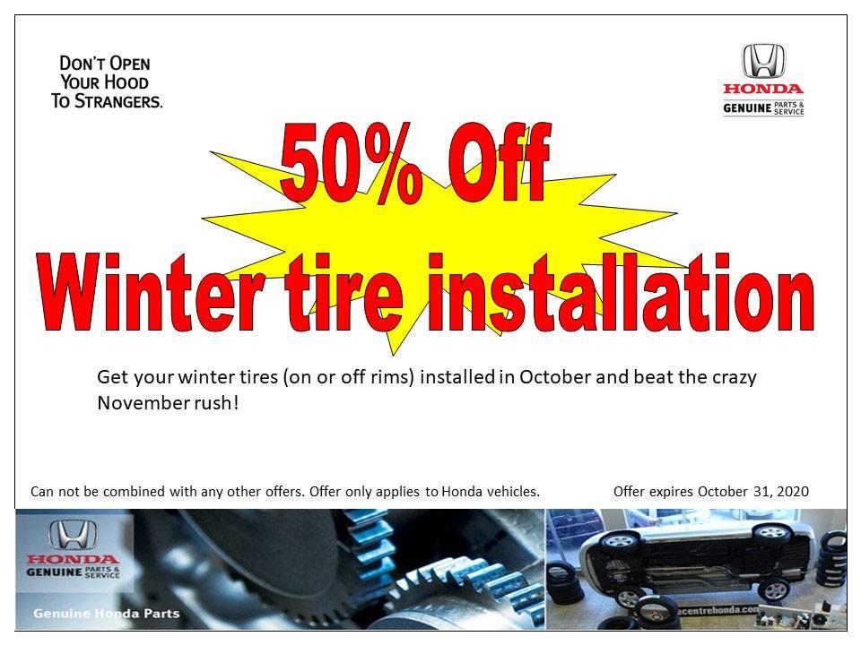 50% Off – Winter Tire Installation