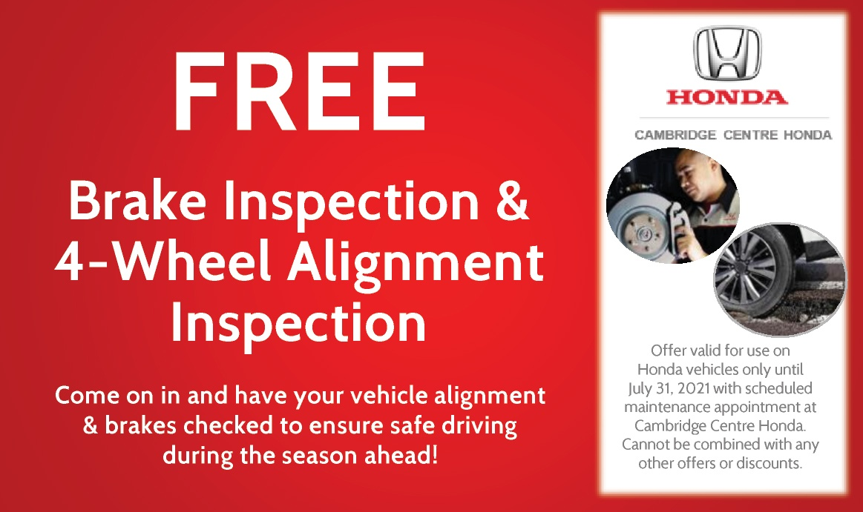 FREE!!! Brake Inspection & 4 Wheel Alignment Inspection