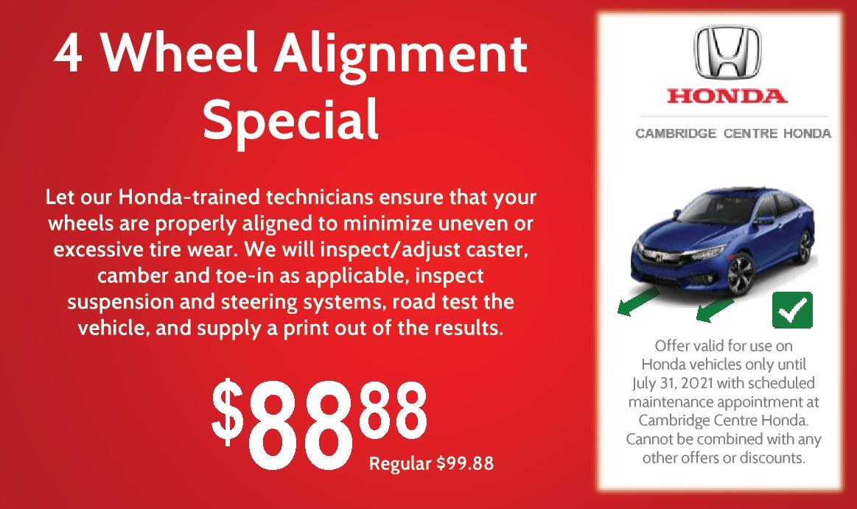 $88.88 – 4 Wheel Alignment Special