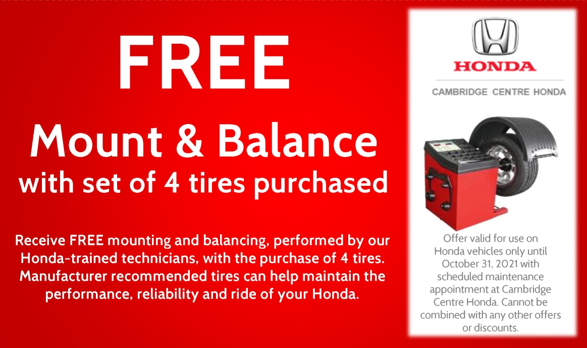 FREE!!! Mount & Balance with set of 4 tires purchased