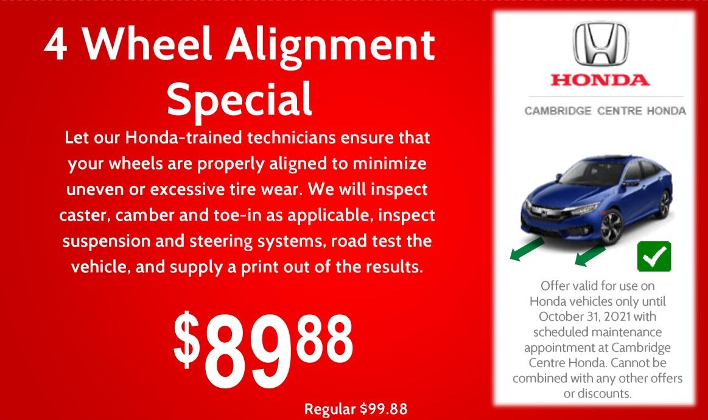 $89.88 – 4 Wheel Alignment Special