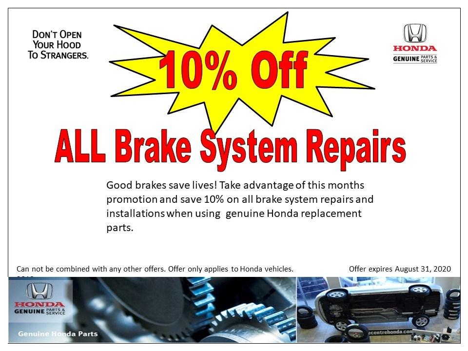 10% Off – ALL Brake System Repairs