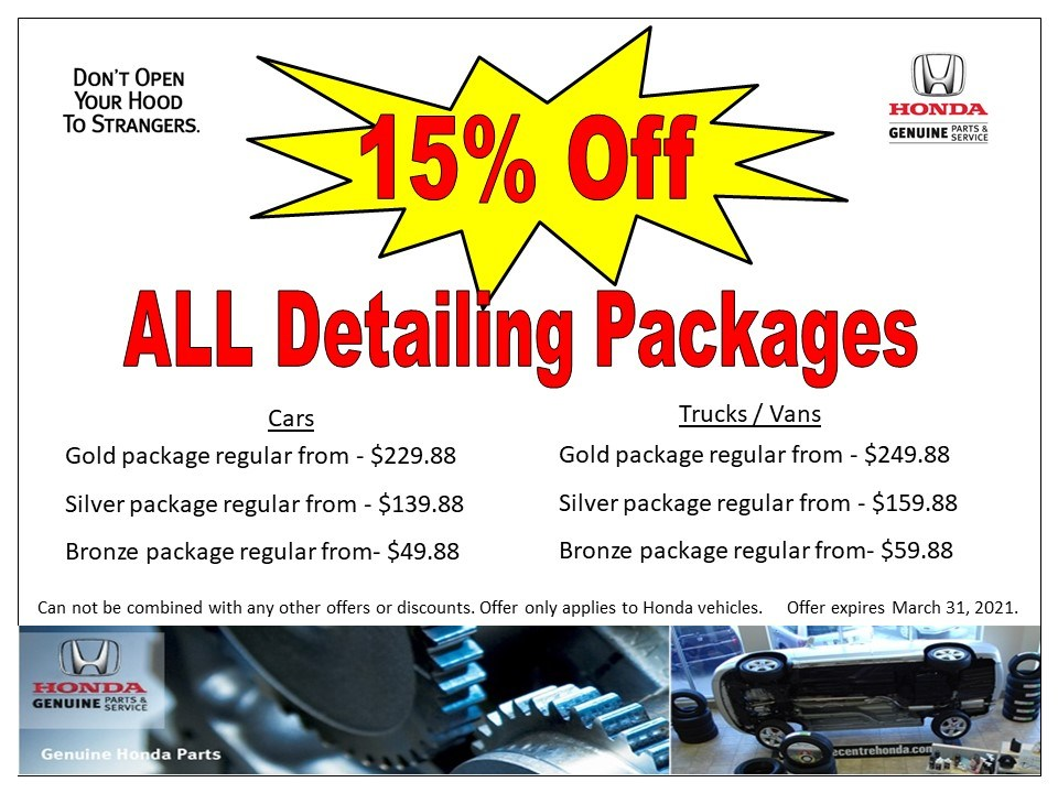 15% Off – ALL Detailing Packages