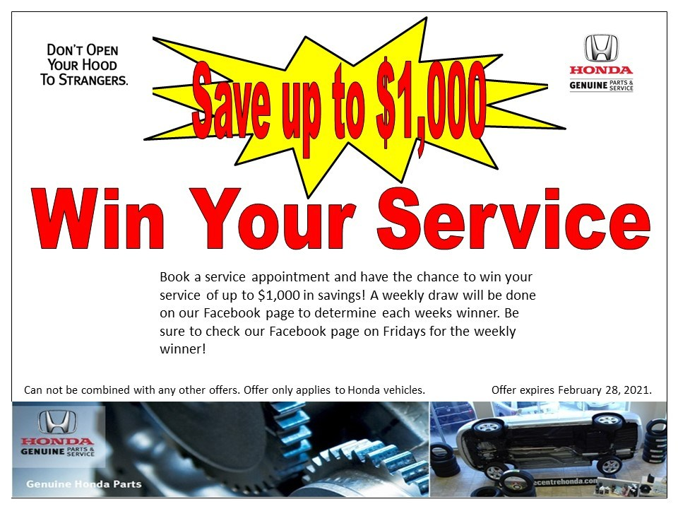 Save up to $1,000 – Win Your Service