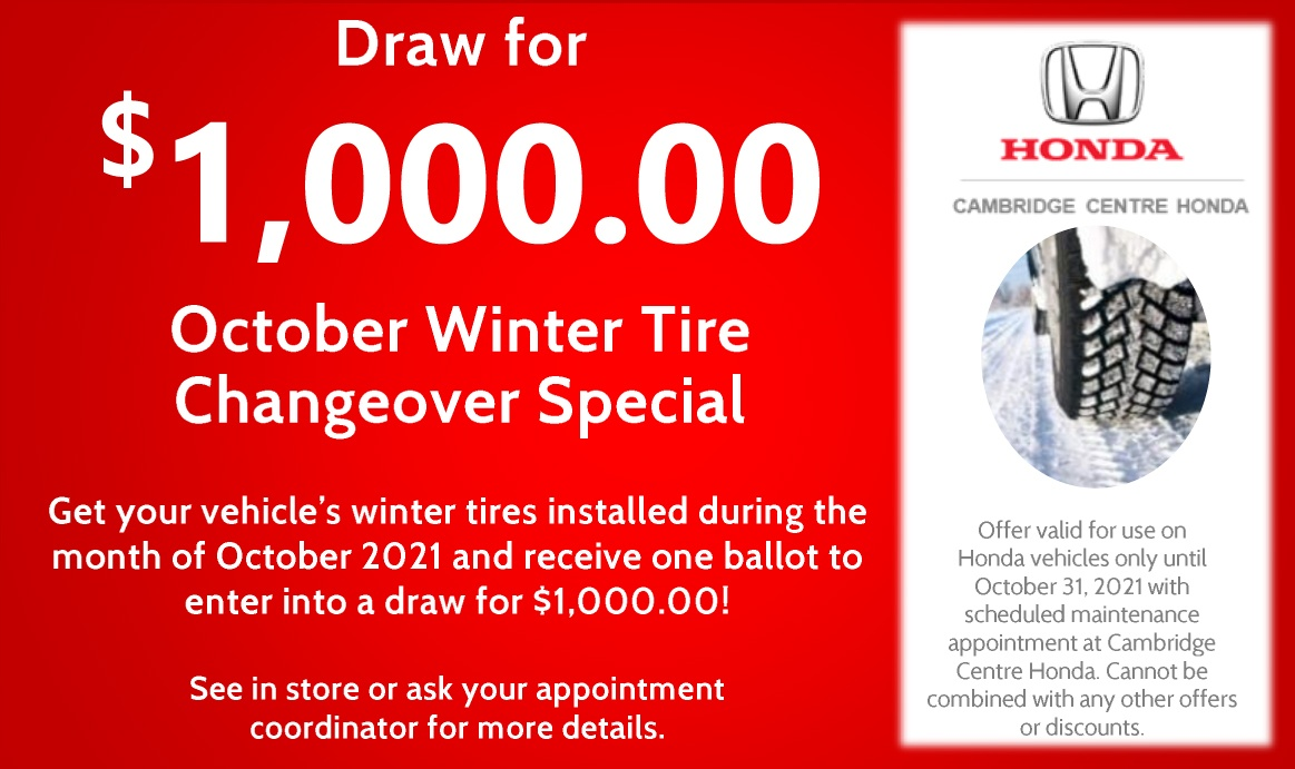 Draw for $ 1,000.00 October Winter Tire Changeover Special
