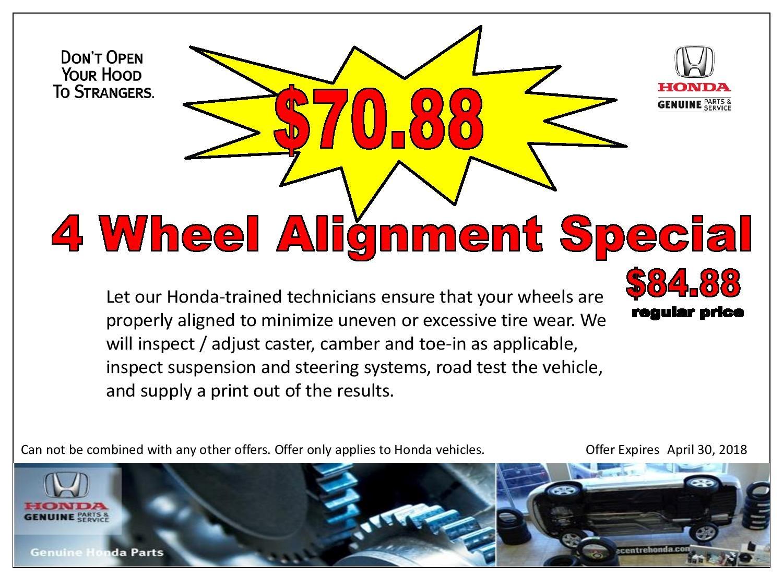 4 Wheel Alignment Special $70.88