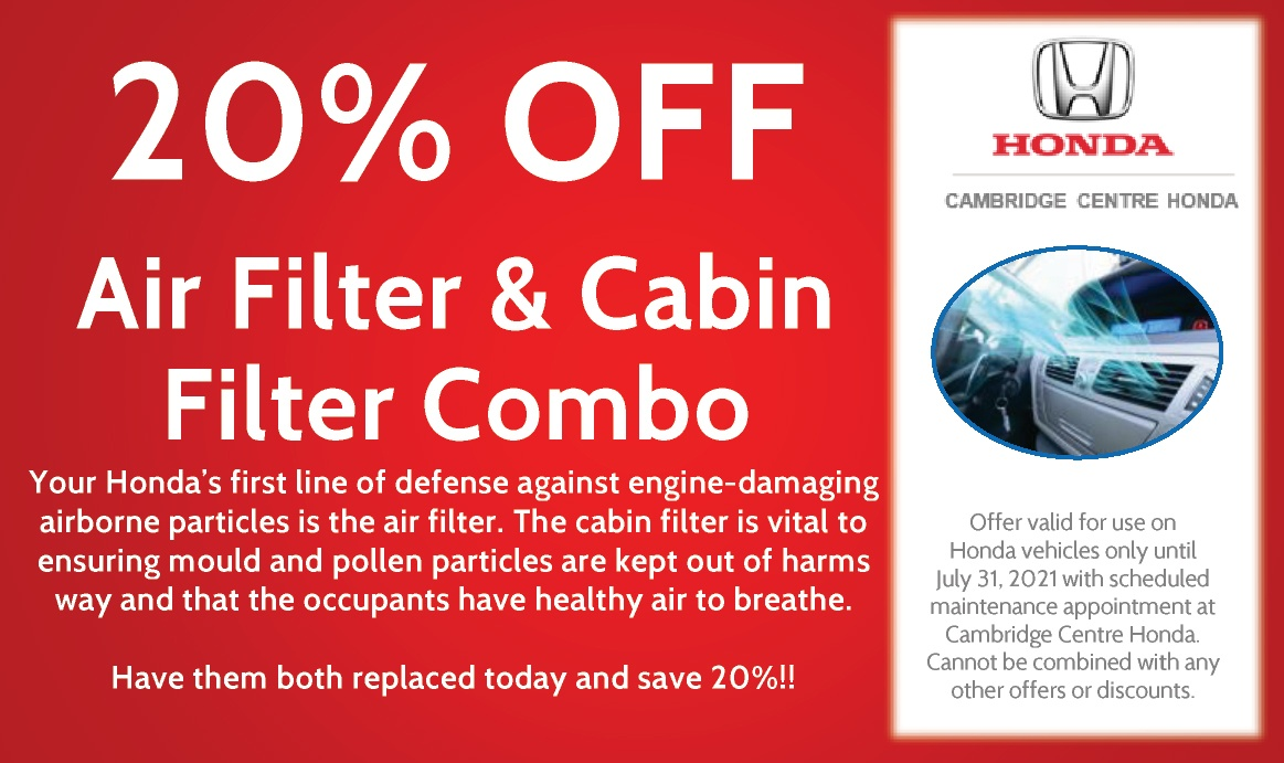 20% OFF Air Filter & Cabin Filter Combo