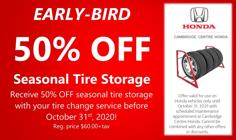 EARLY-BIRD  50% OFF!! Seasonal Tire Storage