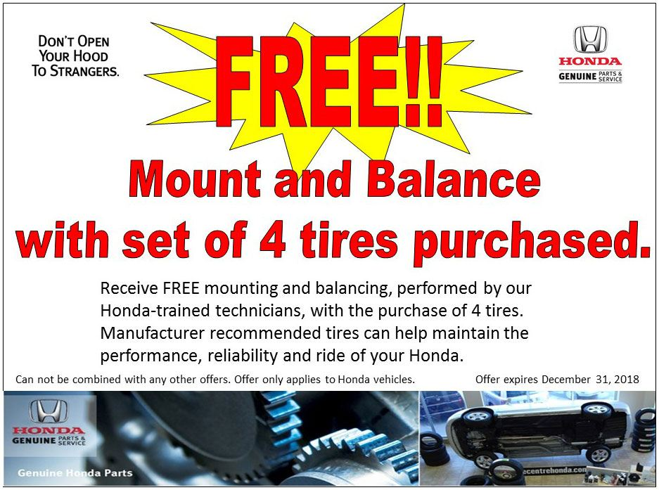 FREE!! Mount and Balance with set of 4 tires purchased