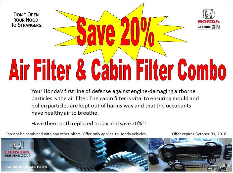 Air Filter & Cabin Filter Combo