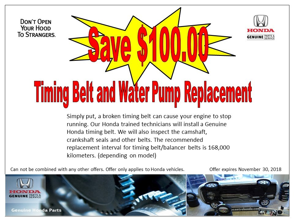 Save $100 on Timing Belt & Water Pump replacement