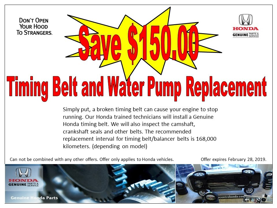 Save $150 on Timing Belt & Water Pump replacement