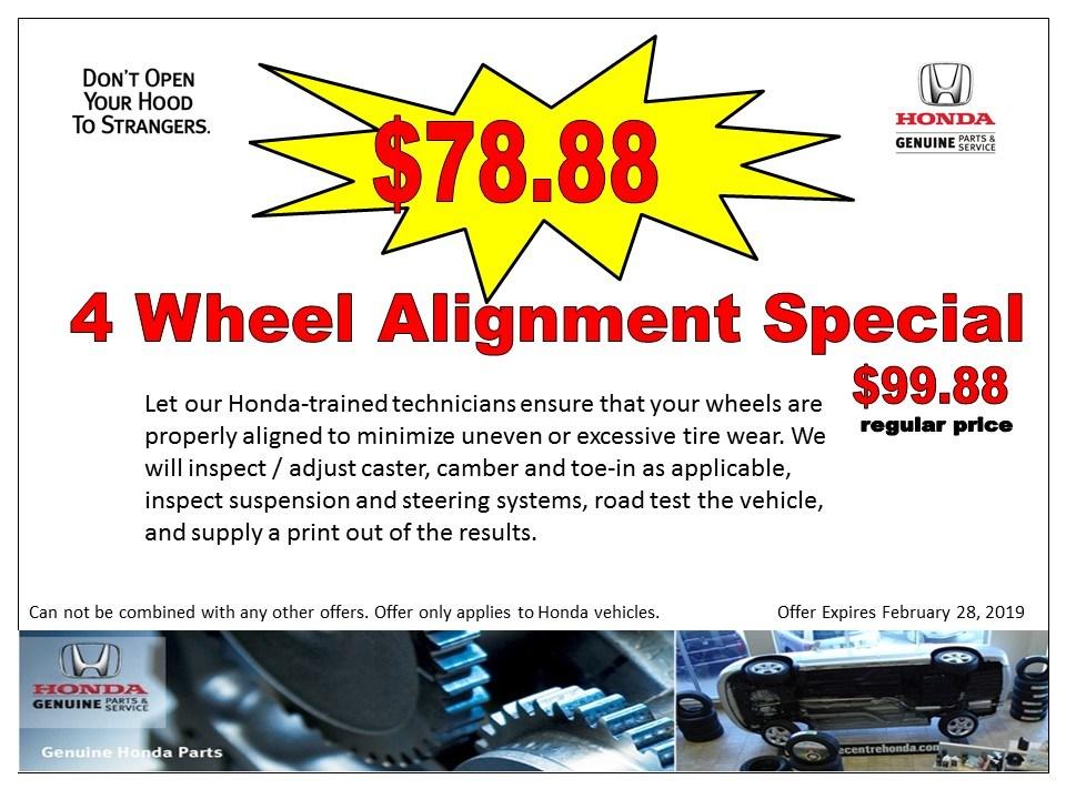 4 Wheel Alignment Special  $78.88
