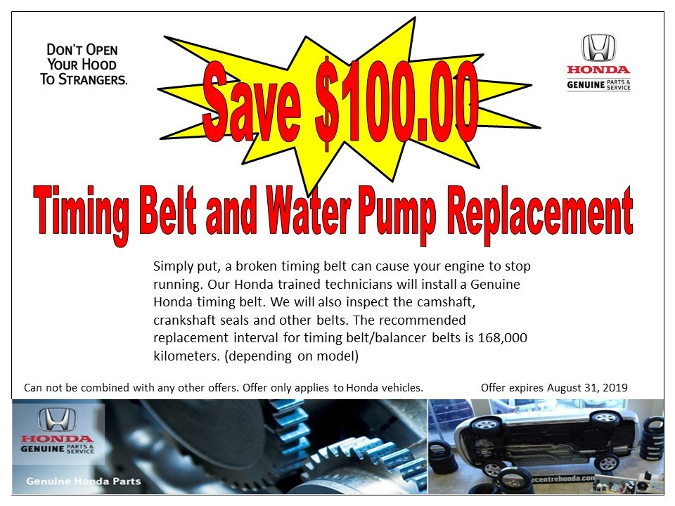 Save $100.00 – Timing Belt and Water Pump Replacement
