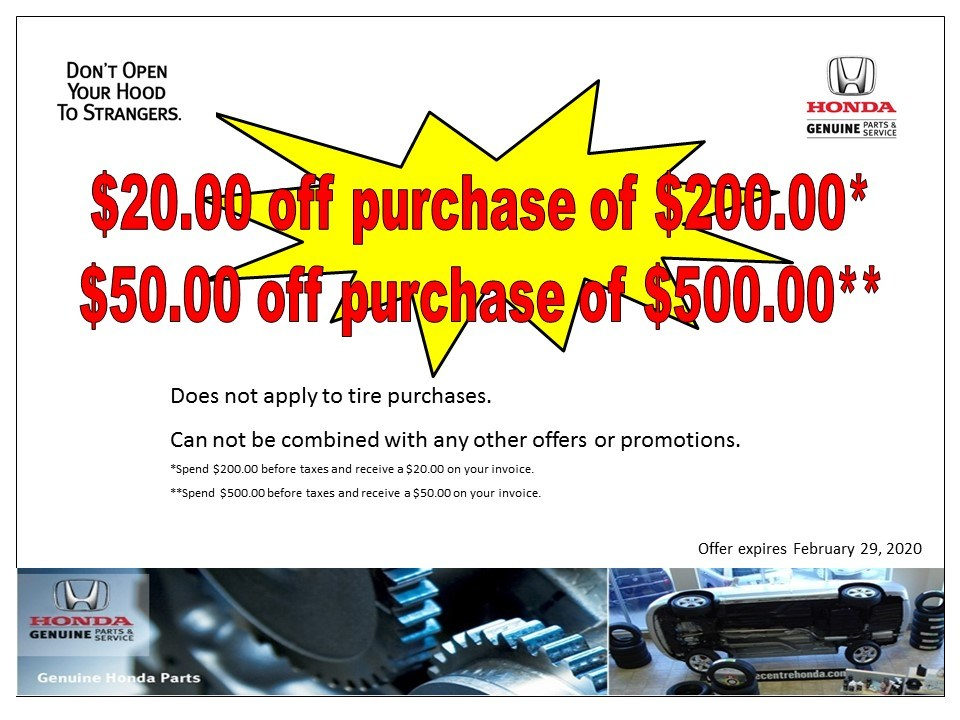 $20 & $50 off purchase of $200* & $500*
