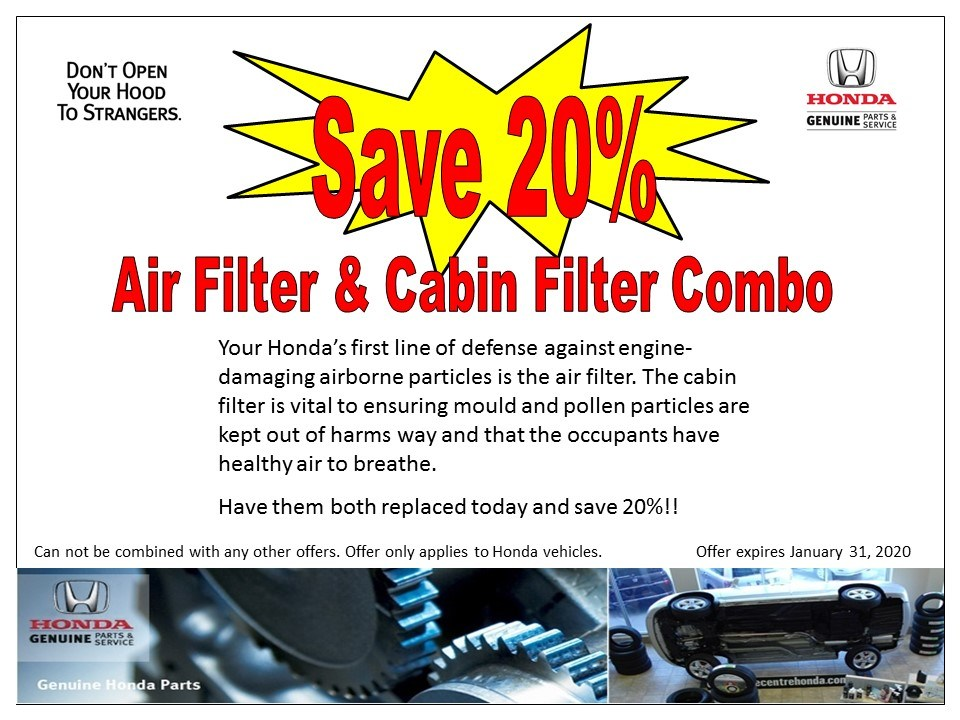 Save 20% on Air Filter & Cabin Filter Combo