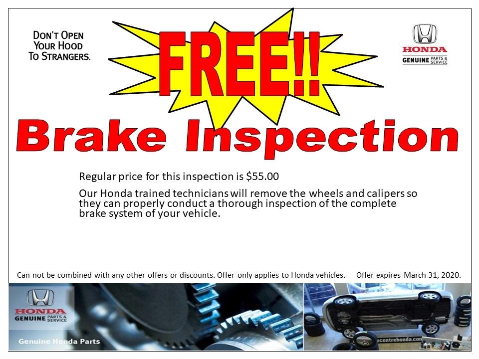 Free!! Brake inspection