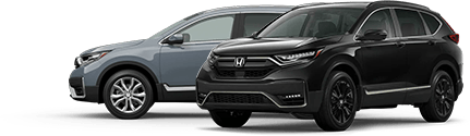 Gray and black 2020 Honda CR-V parked next to each other, in side and diagonal view