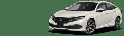 Front side diagonal view of white Honda Civic Sedan
