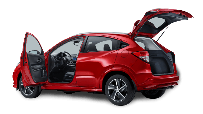 Side rear profile view of 2020 Honda HR-V with door and back open