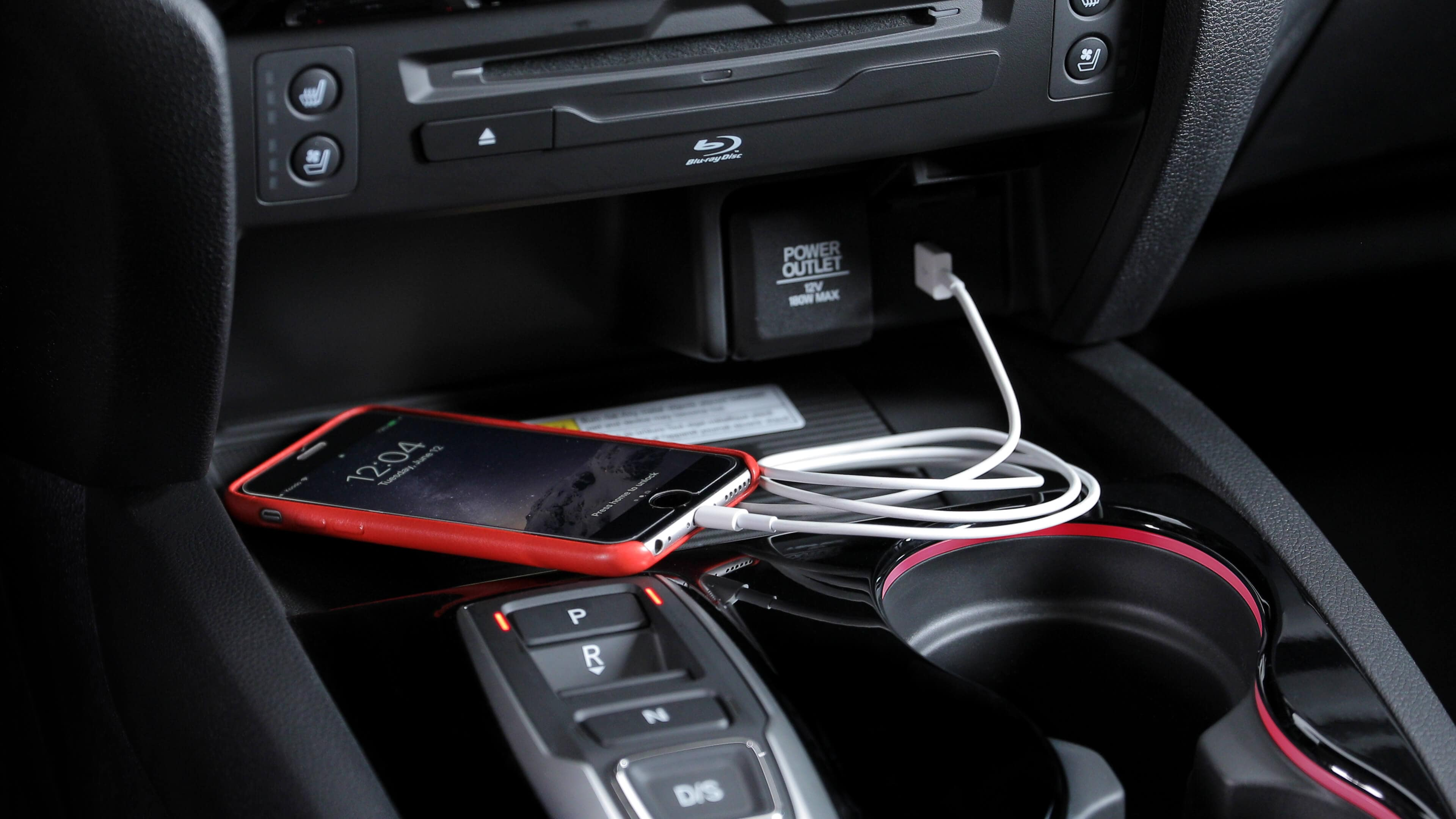 iPhone plugged into 2020 Honda Pilot outlet
