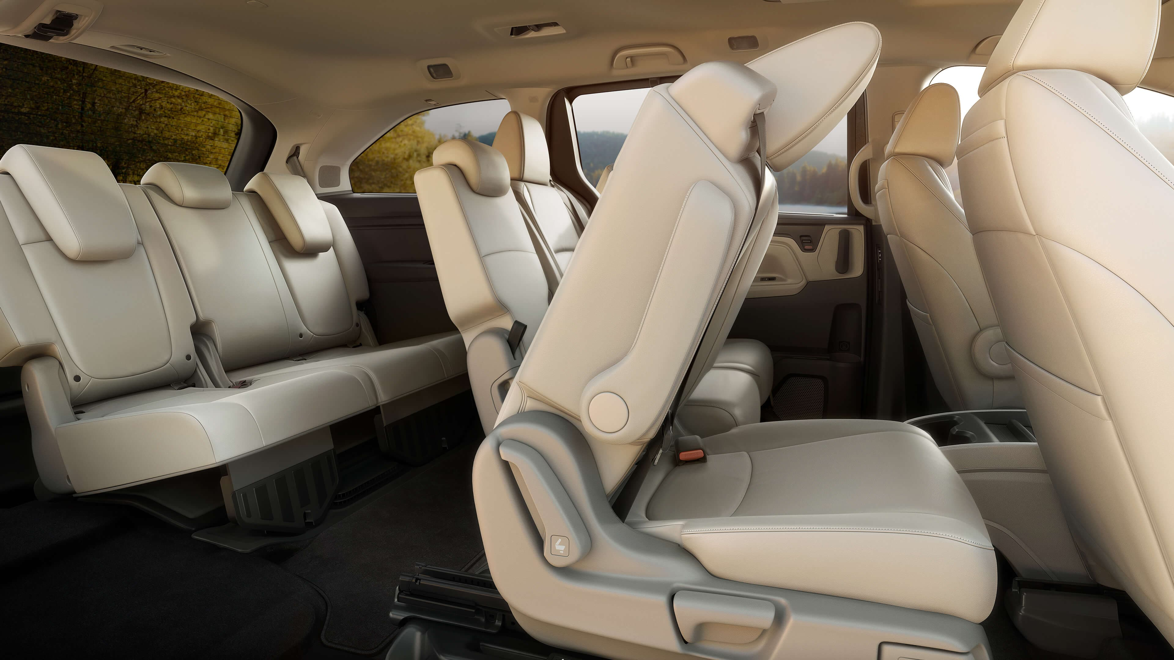 2020 Honda Odyssey rear seats with one folding