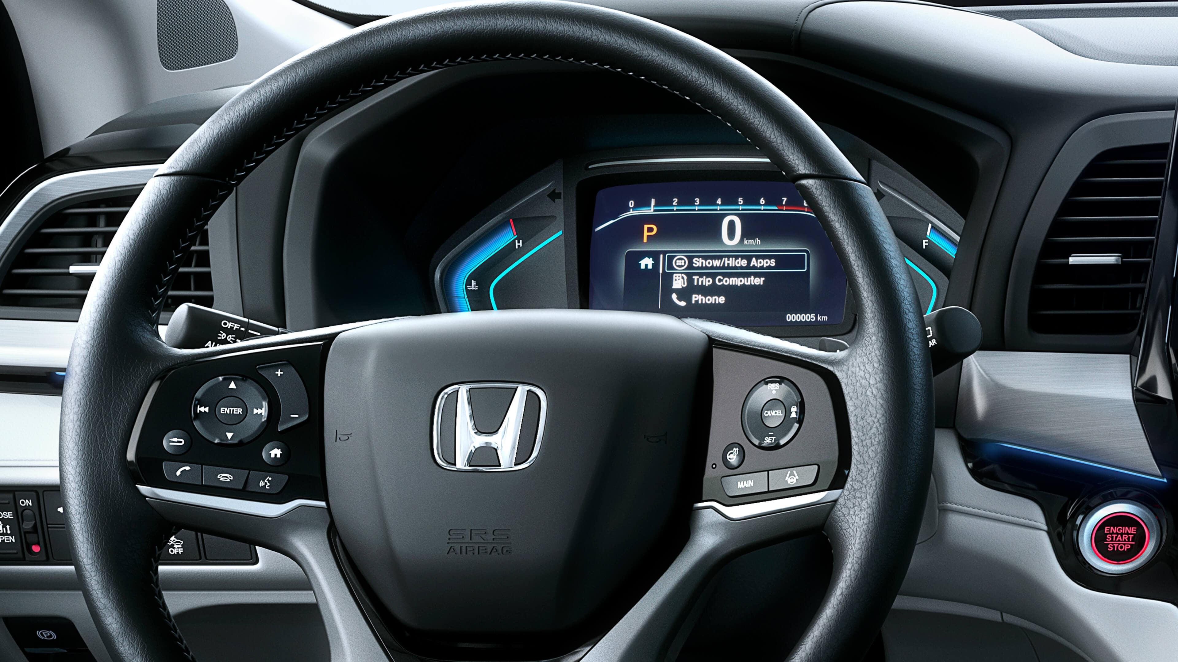 Steering wheel and in-cluster display of 2020 Honda Odyssey