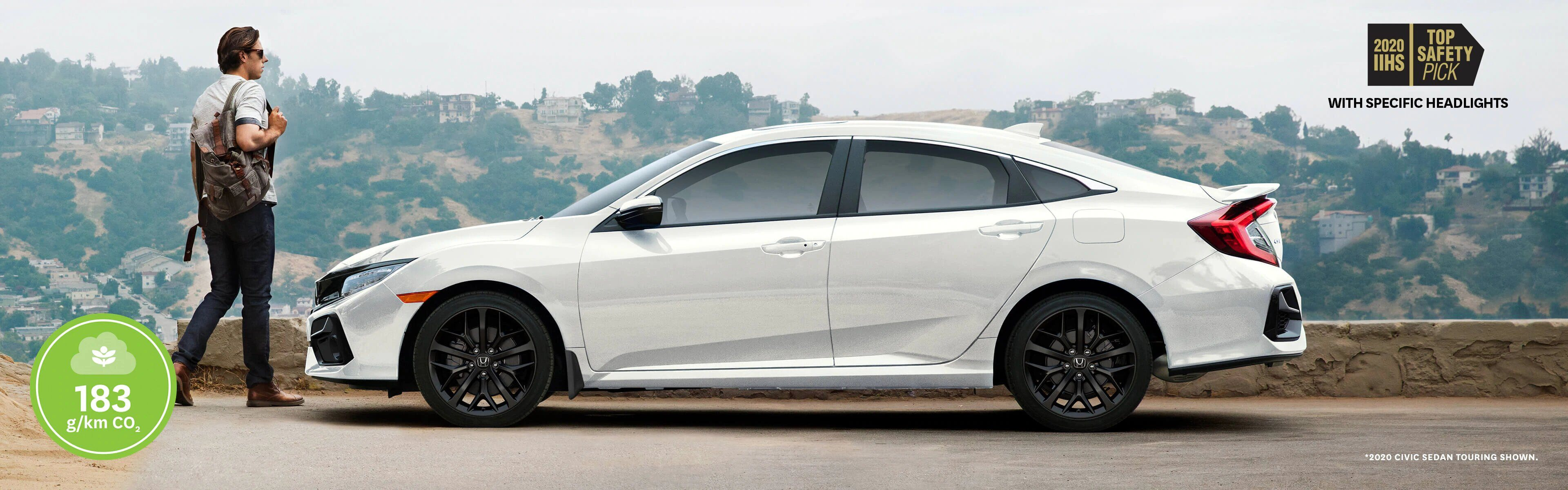 Side view of man walking around a 2020 Honda Civic Sedan Touring in white
