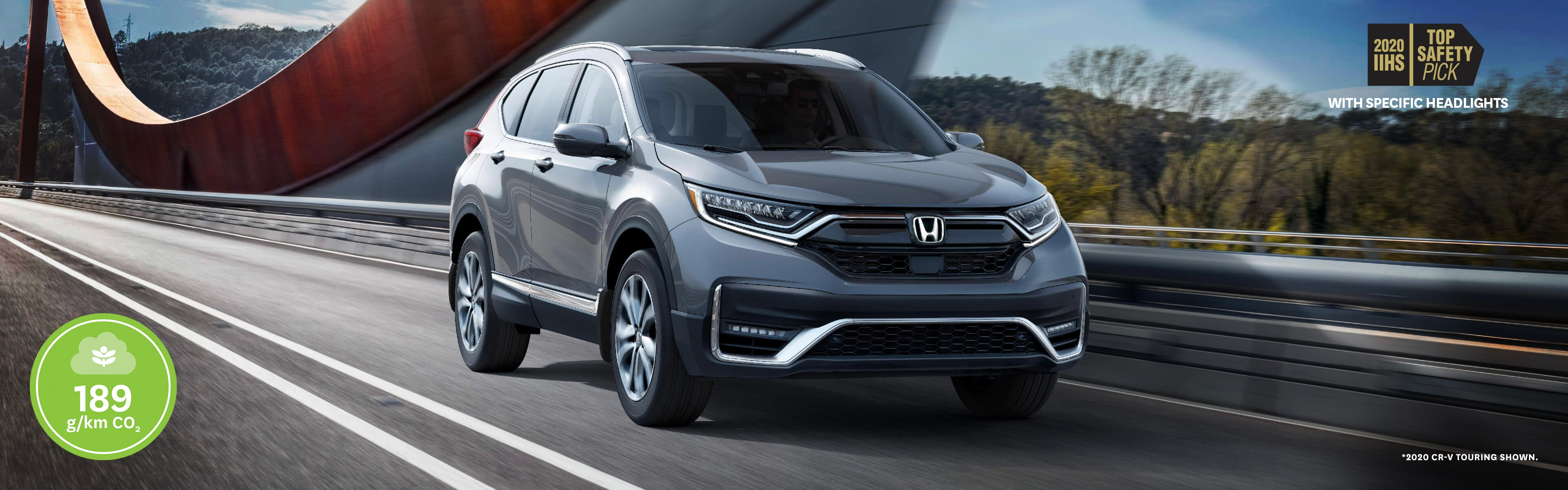 2020 Honda CR-V Touring driving over a nice paved bridge