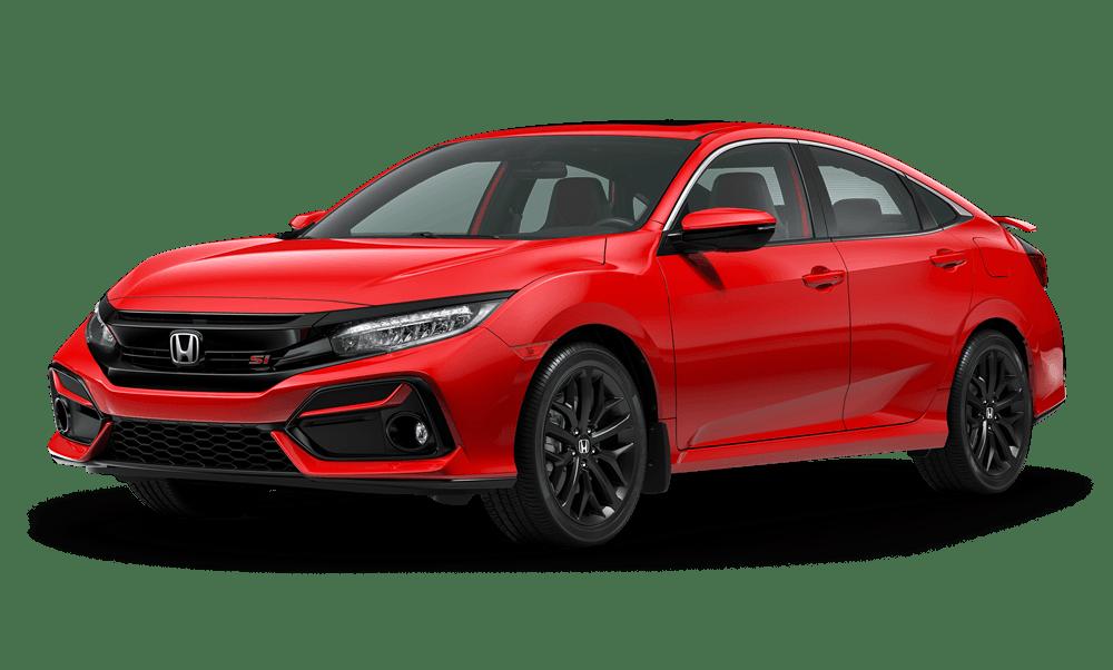 2020 Honda Civic Sedan Si in Rallye Red in front diagonal view